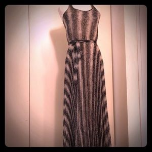 Parker black and white pleated dress